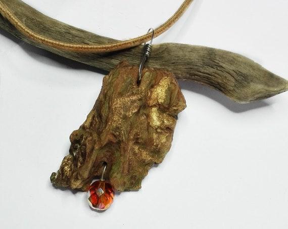 Wooden Bark Pendant with Bead by GunaDesign