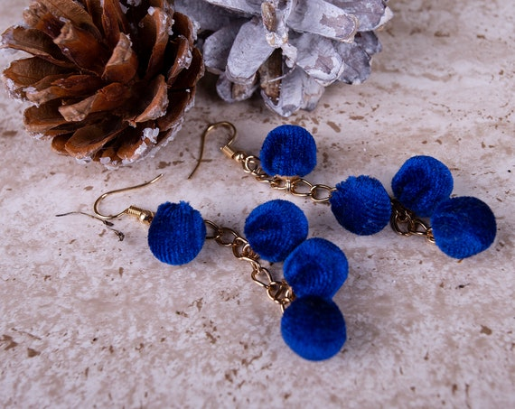 Navy blue pompom earnings by GunaDesign