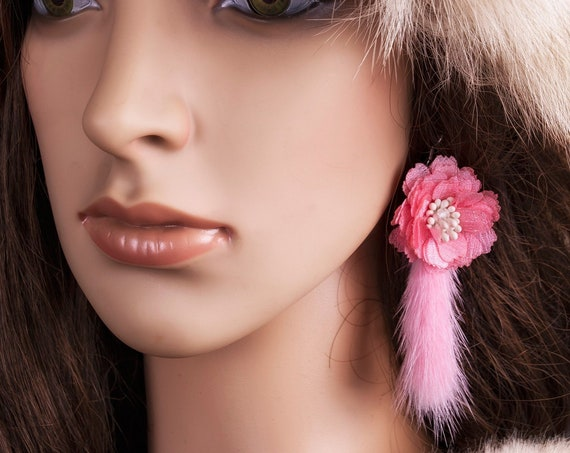 Pink fur tassel earrings by GunaDesign