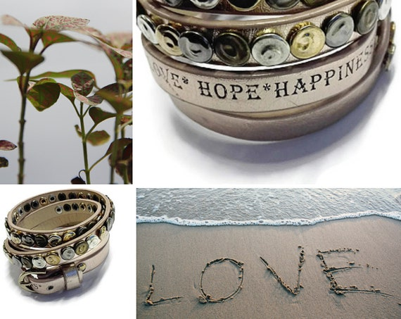 Wrap bracelet Love Hope Happiness GunaDesign