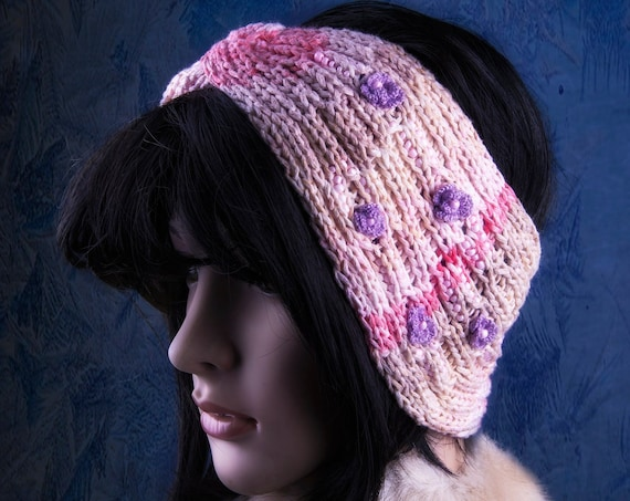 Pastel color knitted ear warmer by GunaDesign