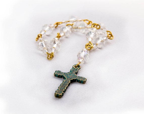 Swarowski crystal bead mini Rosary with Celtic cross