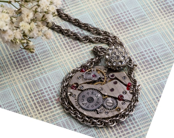 Steampunk necklace with vintage Titus Geneve clockwork pendant, vegan jewelry for woman