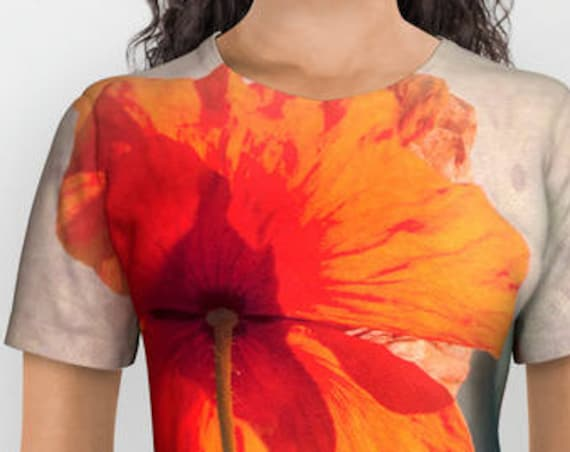 All over print shirts- Red poppies