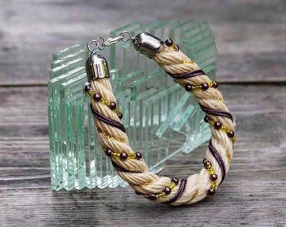Jute rope bracelet, cuff, bangle, bold jewelry, tribal, ethnic boho bracelet with beads and jewelry wire, vegan  jewlery by GunaDesign