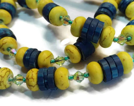 Yellow turquoise and blue coconut shell beads necklace and bracelet