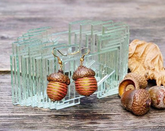 Dangle earrings from natural oak acorn cups with orange gold yarn covered wooden  beads