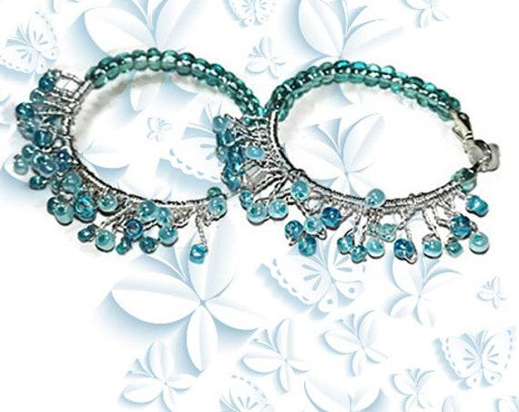 Hoop earrings, wire wrapp earrings with beads for woman, girl