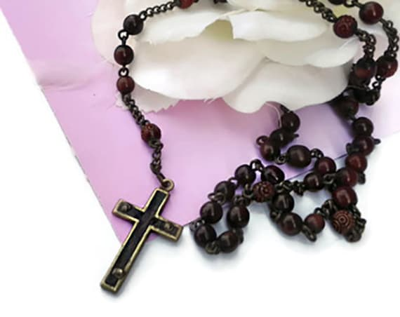 Vintage rosary, 5 Decade catholic praying beads, spiritual jewelry
