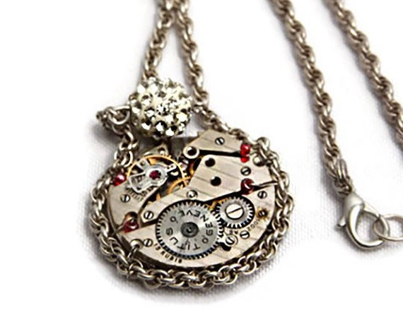 Steampunk necklace with vintage Titus Geneve clockwork pendant