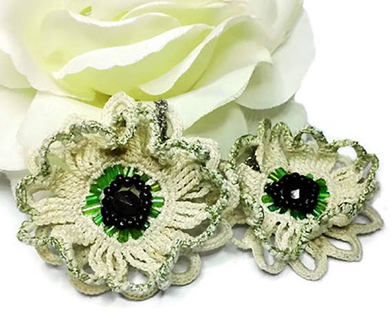Cream white crochet lace flower earrings with green black beads