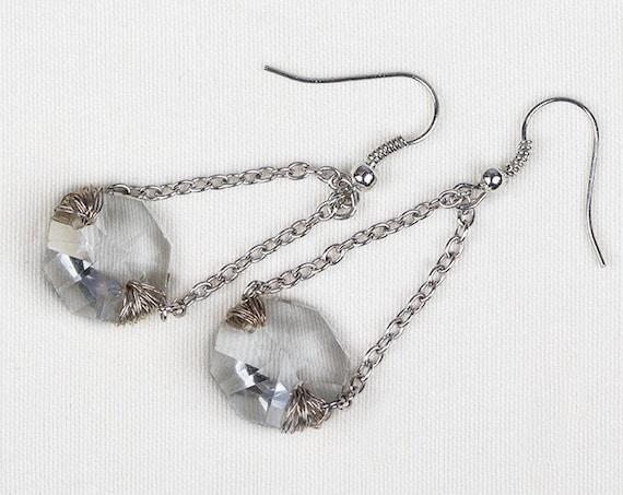 Dangle drop earrings, glass bead long dangling earrings, silver color chain earrings for woman by GunaDesign