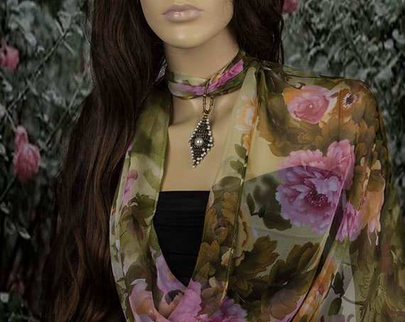 Chiffon Scarf with Pendant Necklace