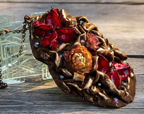 Recycled leather and dried plants, flowers and beads necklace