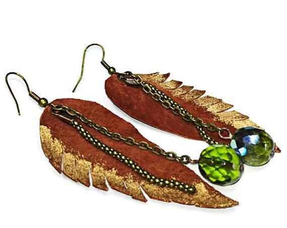 Leather leaf drop earrings with bead for woman, long dangle earrings by GunaDesign