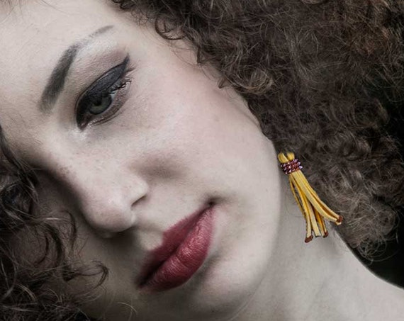 Yellow Tribal Leather Tassel Dangle Earrings