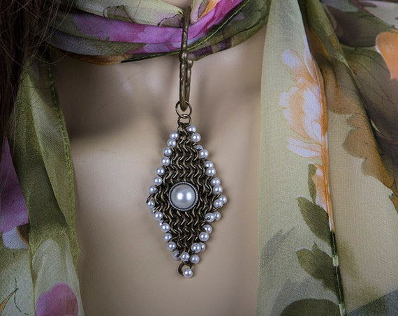 Chiffon scarf with chainmaille pendant by GunaDesign