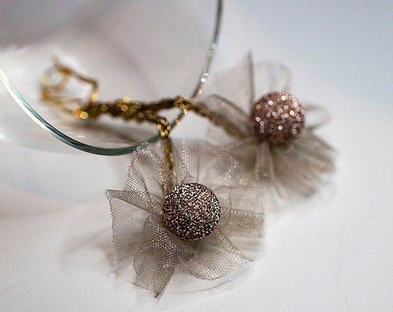 Organza flower earrings GunaDesign