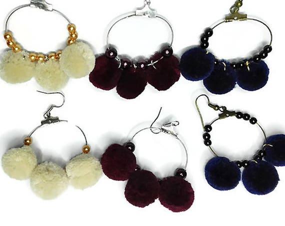 Hoop earrings with pom poms and beads, medium metal hoop fashion earrings, fabric statement earrings for woman, girl by GunaDesign