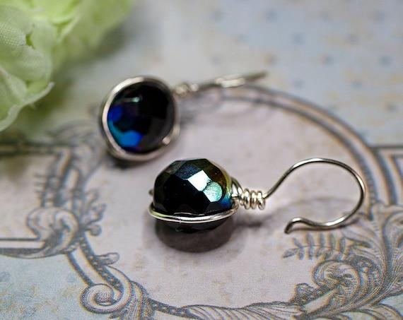 Black blue crystal bead earrings by GunaDesign