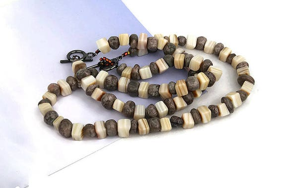 Beaded necklace, bracelet, dark gray stone bead and beige color shell bead short necklace and bracelet, beaded jewelry for her by GunaDesign