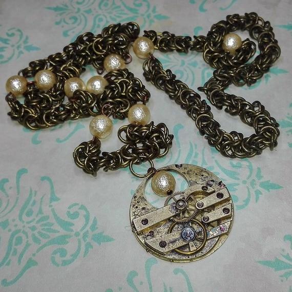 Byzantine chain necklace with vintage clockwork GunaDesign