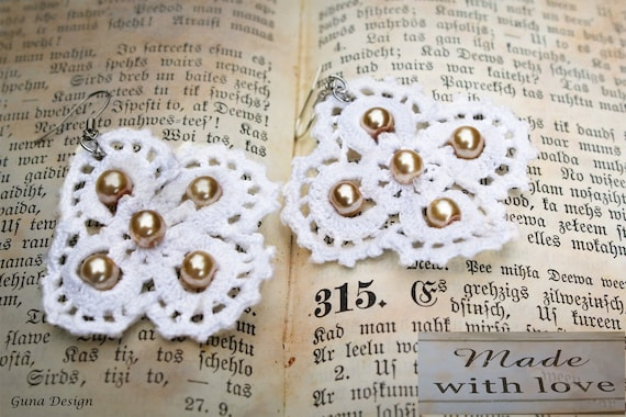 Crochet Lace Flower Earrings with Beads