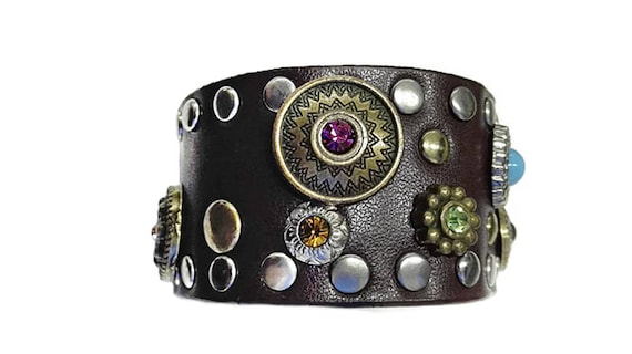 Brown leather bracelet, cuff for woman with bead studs in Western country style