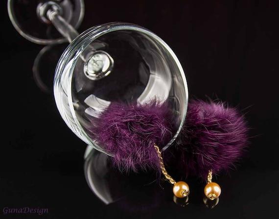 Recycled fur pom-poms earrings GunaDesign