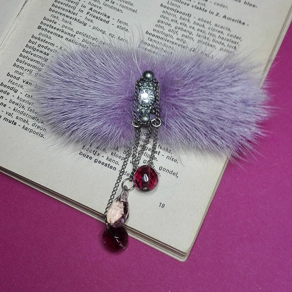 Fur Brooch with Crystal Beads  by GunaDesign