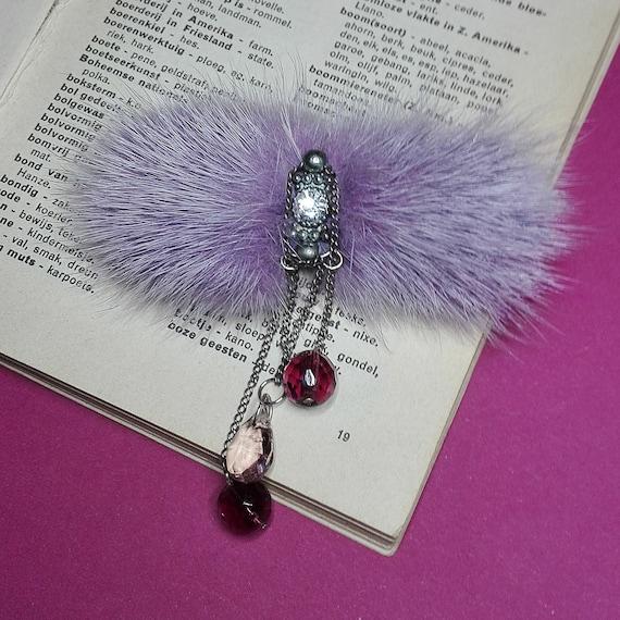 Fur Brooch with Crystal Beads  by GunaDesign