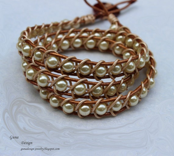 Tutorial Plaited Bracelet from Leather Cord and Beads