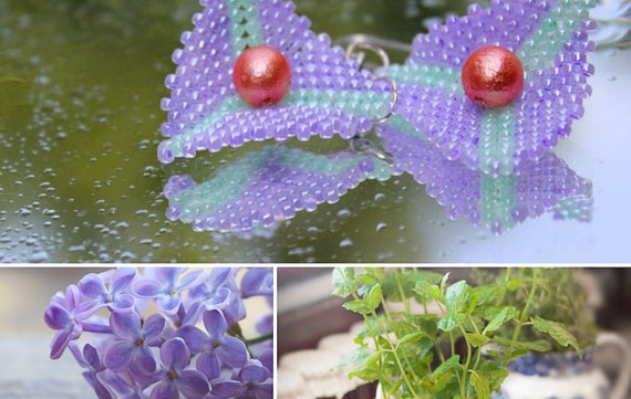 Mint green and lilac color beaded earrings by GunaDesign