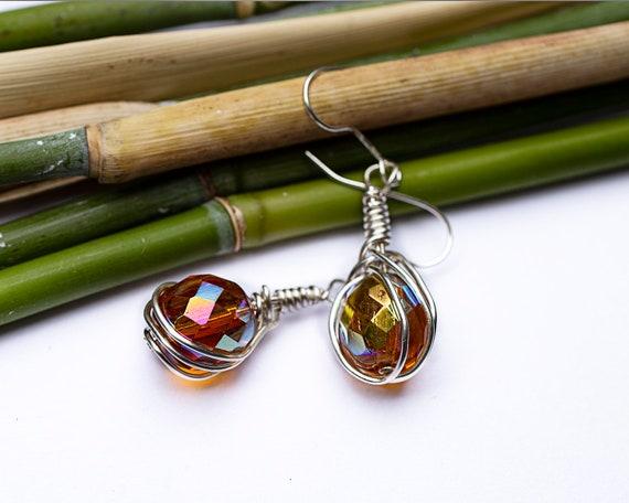 Yellow crystal bead earrings by GunaDesign