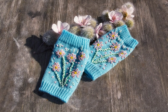 Finger-less Knitted Gloves, Wrist Warmers With Embroidered Roses And Beads by Gunadesign