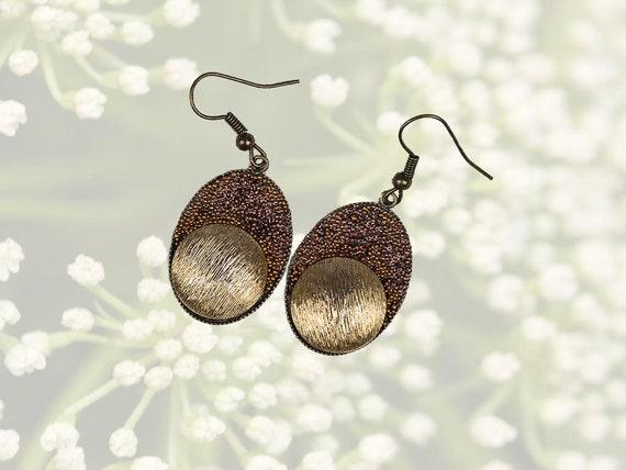 Brown Golden Dangle Earrings