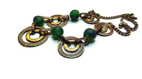 Copper necklace with handmade original African green glass beads