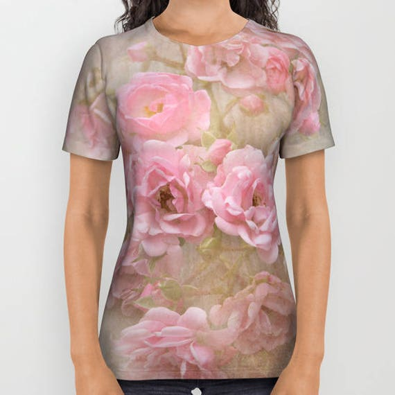 All over print shirts- Vintage Pink Roses