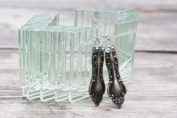 Vintage Spoon Dangle Earrings with Clear Glass  Beads
