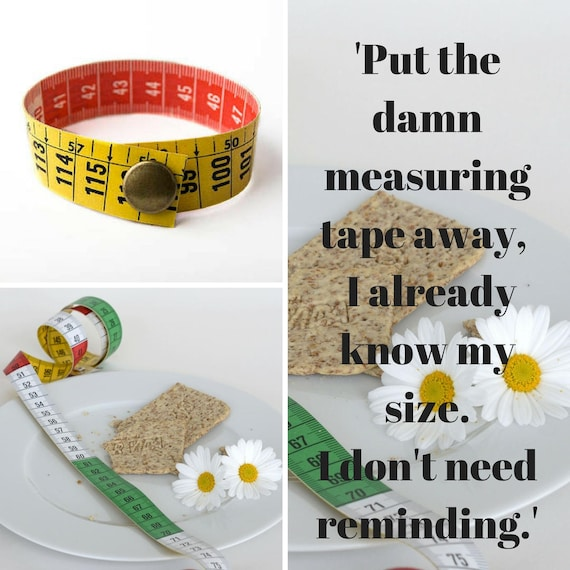 Recycled measuring tape cuff for woman by GunaDesign