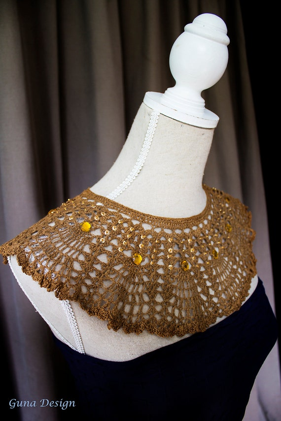 Crochet collar, detachable collar, Egyptian style collar necklace with beads for woman, MADE TO ORDER by GunaDesign