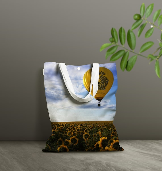 Hot Air Ballon and Sunflowers Tote Bag