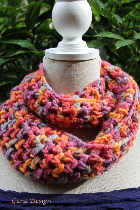 Infinity Crochet Scarf Cowl  in 50 shades of red