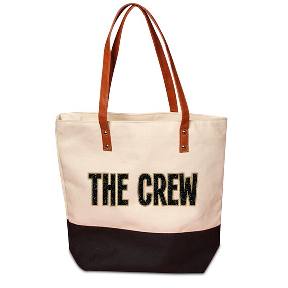 0e3e16e15338 Black or Olive bottom Large Canvas THE CREW Tote Bag // Cute Canvas Tote  with Black and Gold Glitter Design and Faux Leather Handles