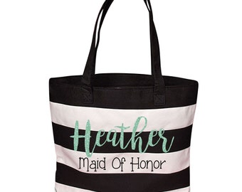 Large Personalized Bridesmaid or Maid of Honor Tote / Cute Black & White Striped Large Canvas Tote with Custom Name  and Title