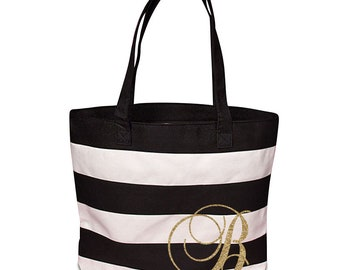 Black & White Tote with Initial