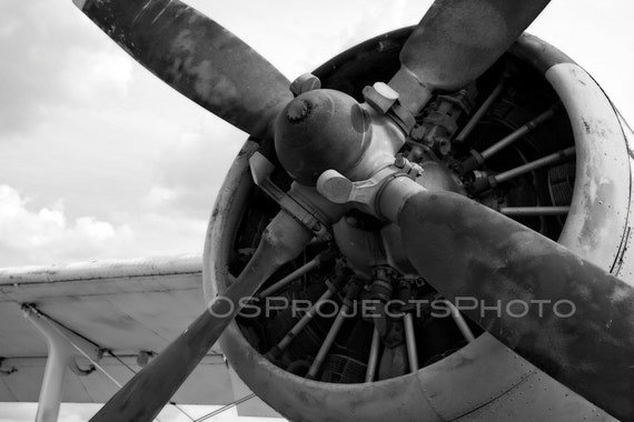 Vintage Airplane Photography Black And White Propeller Photo Etsy