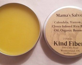 """Calendula, Yarrow & Clover """"Mama's"""" Salve to Nourish Skin All Over - Sustainable Small Farm and Sheep Rescue 2 oz"""