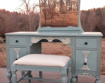 SOLD EXAMPLE......Annie Sloan Chalk Paint Antique Vanity with Stool/Bench and Mirror Furniture/Make-Up/ Dressing Table