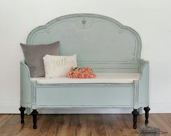 unique entryway furniture. SOLD EXAMPLE Annie Sloan Chalk Painted Entryway Bench Custom Made From Antique Headboard And Curved Footboard Unique Furniture
